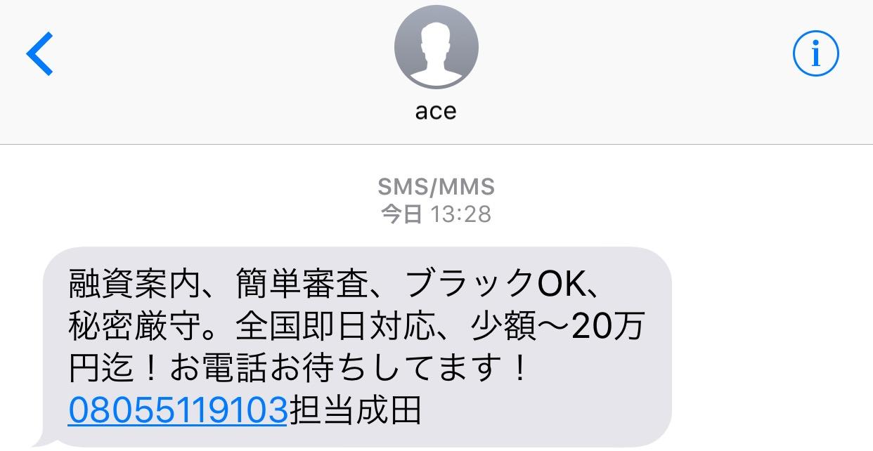 08055119103のace成田からのメール画像